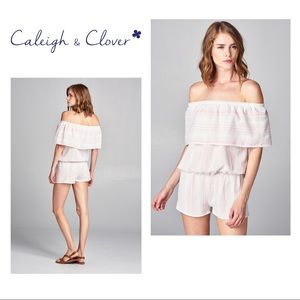 Caleigh & Clover Off the Shoulder Ruffled Romper